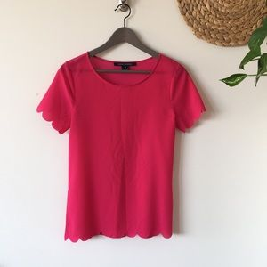 French Connection Bright Pink Scalloped Shirt